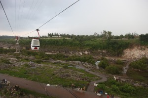 In cable car to Dhuandhar Falls