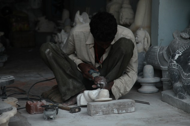 The marble being carved