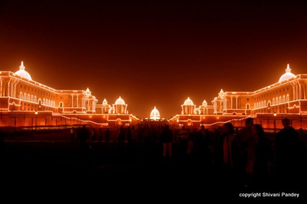 Rashtrapati Bhawan at night